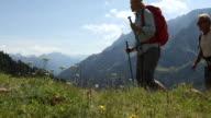 Hiking couple walk through alpine meadow, in mountains