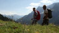 Hiking couple walk through alpine meadow, in mountains