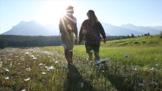 Hiking couple walk through alpine meadow, mountains
