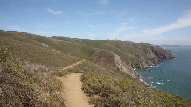A hiking trail on the coast of California north of San Francisco on a sunny day.