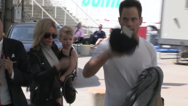 Hilary Duff Mike Comrie and Luca Cruz Comrie arrive at LA KingsNY Rangers Game 2 at Staples Center in Los Angeles on June 07 2014 in Los Angeles...