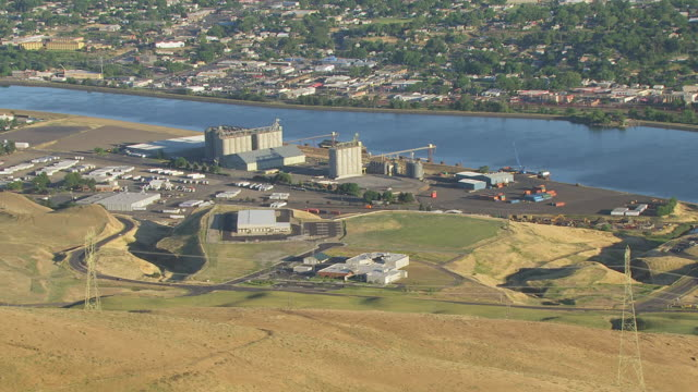 CU AERIAL Hill to reveal Port of Lewiston and Clearwater River / Lewiston, Idaho, United States
