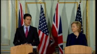 Hillary Clinton and David Miliband press conference David Miliband MP press conference SOT I think it's also worth saying that we have had an...