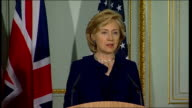 Hillary Clinton and David Miliband press conference Hillary Clinton press conference SOT So as the foreign secretary said we have had a wide ranging...