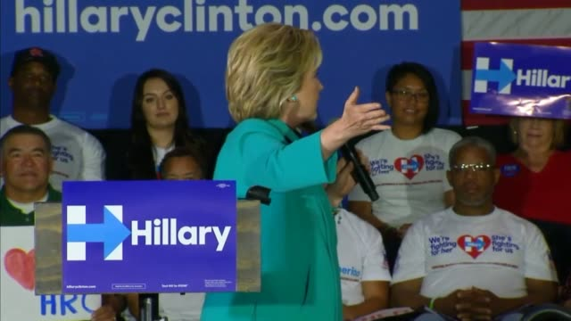Hillary Clinton begins a speech to a Los Angeles audience telling supporters that the election has to be about knocking down barriers that stand in...
