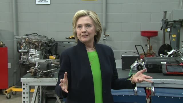 Hillary Clinton campaigning at Kirkwood Community College on April 14 2015 in Monticello Iowa