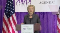 Hillary Clinton returns to the campaign trail after a bout of pneumonia addresses a meeting of the Black Women's agenda says she's happy to be back...
