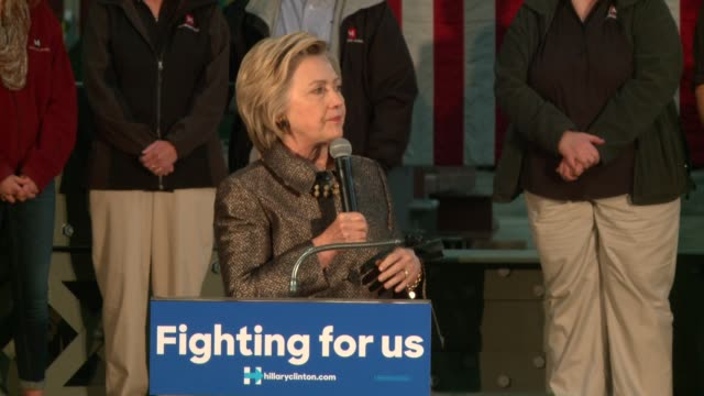 WGN Hillary Clinton Talks About Iron Workers Helping After 9/11 Terrorist Attack while speaking to a group after a tour at Munster Steel in Northwest...