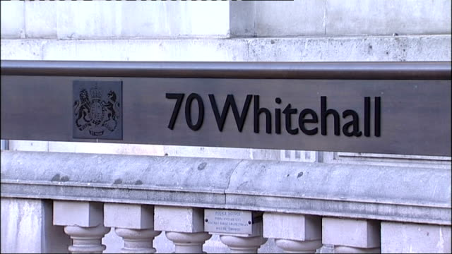 Government investigates Wikipedia 'slurs' from Whitehall computers R10081105 Whitehall Cabinet Office EXT '70 Whitehall' sign Coat of arms on...