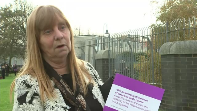 Recommendations of report into treatment of families after the disaster Liverpool EXT Reporter along with Aspinall Margaret Aspinall interview SOT...