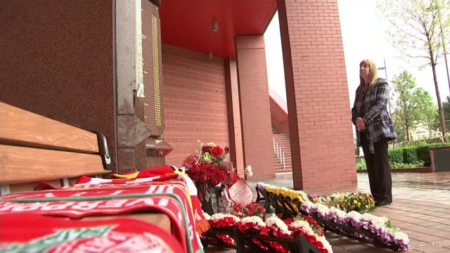 Six people charged with criminal offences Merseyside Liverpool EXT Margaret Aspinall setup looking at Hillsborough Memorial outside Anfield Stadium/...