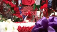 Five men appear in court charged in connection with disaster Merseyside Liverpool Anfield Scarves football shirts and floral tributes laid in front...