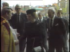 Liverpool Margaret Thatcher and husband Denis towards and shake with Bishop of Liverpool Rt Rev David Sheppard TMS Duke and Duchess of Kent towards...