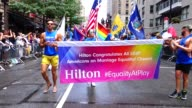 Hilton Worldwide marches during the Annual New York City Gay Pride Parade / The parade celebrates the Supreme Court decision to legalized samesex...