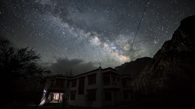 Himalayas mountain in leh ladakh india with milky way background