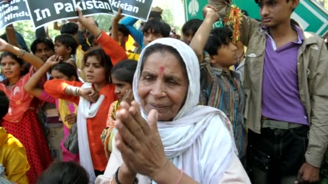 Hindu refugees from Pakistan and right wing activists stage a protest outside the UN office in New Delhi demanding the rehablitation of the Hindu...