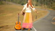 Hippie girl dancing