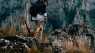 Hippie woman enjoy on mountain