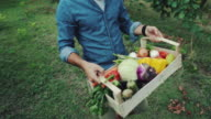 Hipster man with grocery box