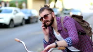Hipster using smartphone