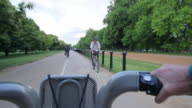 POV WS Hire bike riding through Hyde Park London
