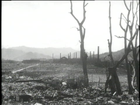 Hiroshima smolders in ruins after an atomic blast