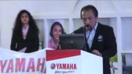 Hiroyuki Yanagi CEO and President of Yamaha Motor Co Ltd speaks at a press conference during the Auto Expo 2014 Motor Show 2014/Components Show 2014...