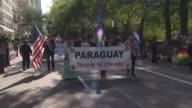 Hispanic Day Parade NYC Paraguyan Float at the Hispanic Day Parade on October 13 2013 in New York New York