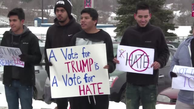 Hispanic demonstrators protested outside a Donald Trump event in Iowa on Tuesday over his stance on immigration
