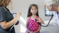 Hispanic Girl's Pediatrician Visit, Stethoscope