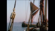 MONTAGE Historic ship designs sail over the ocean / UK