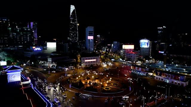 Ho Chi Minhstad zicht 's nachts