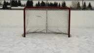 Hockey pucks shot into empty net