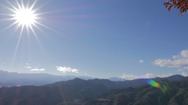 Hodosan mountain view with bright sun, Chichibu