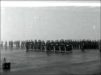 RNVR hold their last muster ENGLAND Nr Warrington Stretton EXT GV Rear Admiral Geoffrey ThistletonSmith inspecting division / CS ditto / GV...