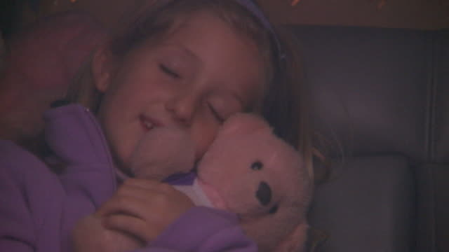 Holland, MichiganGirl sleeping in car holding teddy bear