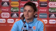 Holland press conference ahead of the Women's Euro 2017 semifinal versus England Manager Sarina Wiegma and midfielder Danielle van de Donk also of...
