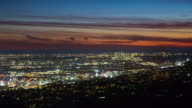 Hollywood and West LA From Above Between Dusk and Night