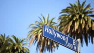 CU Hollywood boulevard street sign / Hollywood, Los Angeles, California, USA