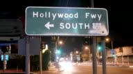 Hollywood Freeway Sign Close Up Time Lapse