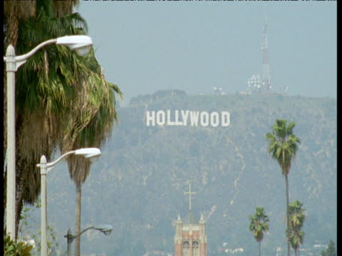 Hollywood sign on hills over Los Angeles, California