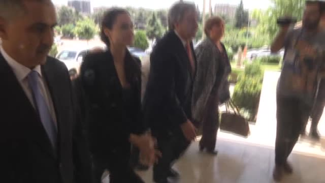 Hollywood star and UN High Commissioner for Refugees Goodwill Ambassador Angelina Jolie and Antonio Guterres United Nations High Commissioner for...
