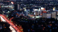 T/L Hollywood with freeway traffic at night
