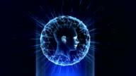 Hologram Head Blue