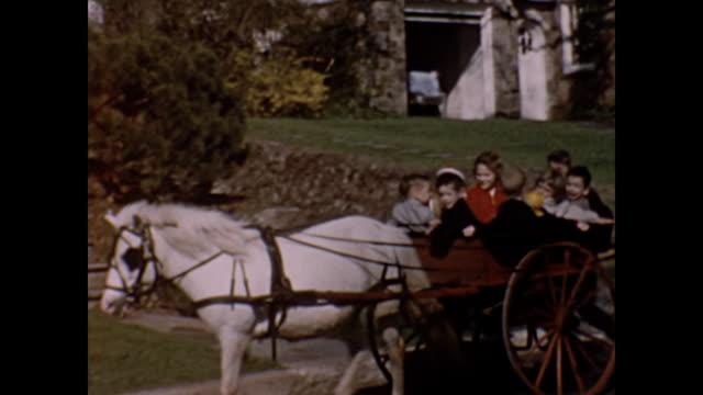 1954 Home Movie - children in pony cart ride