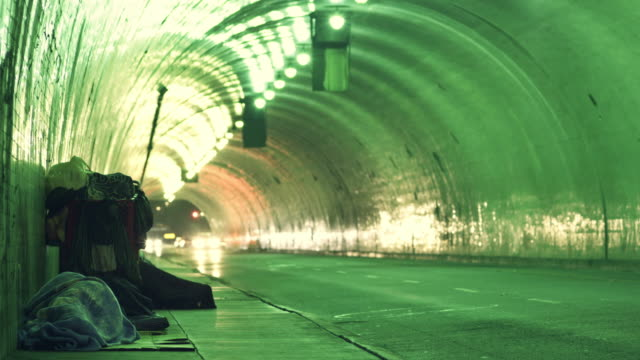 Homeless in a tunnel time lapse