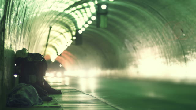 Homeless in a tunnel