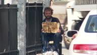 WS Homeless man begging on street corner for money / Boston, Massachusetts, USA