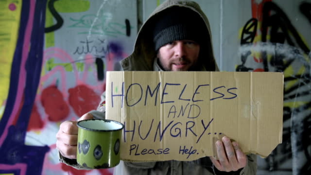 HD DOLLY: Homeless Person Asking For Change