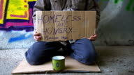 HD DOLLY: Homeless Person Begging In The Underpass